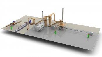 Завод по производству топливных брикетов - 1 ... 1,5 т/ч с измельчителем соломы