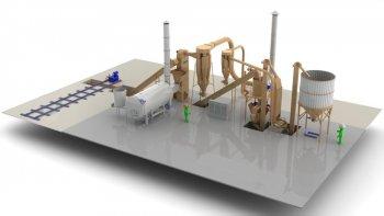 Завод по производству топливных гранул мощностью 1 ... 1,5 т/час