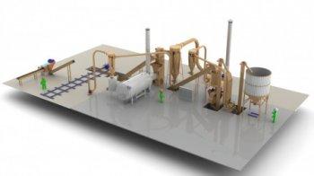 Завод по производству топливных гранул, 1 ... 1,5 т/час с рубительной машиной